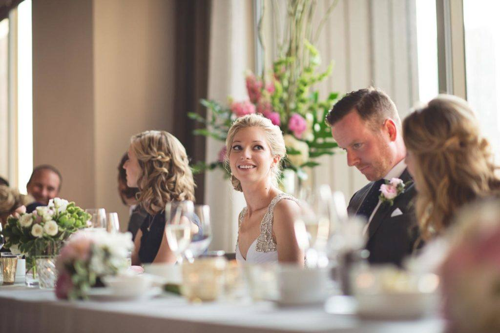 the wedding party table during speeches at Arcadian Loft