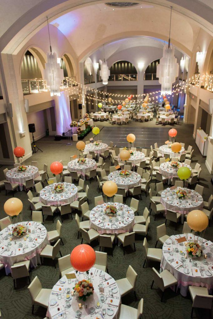 Overhead shot of wedding reception at Arcadian Court
