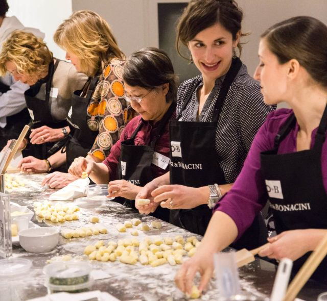 women making gnocchi together and talking in arcadian studio