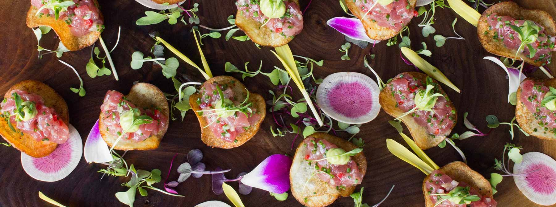overhead shot of tuna tartare canapes from reception at arcadian venue