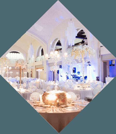 a diamond image of a glamorous wedding