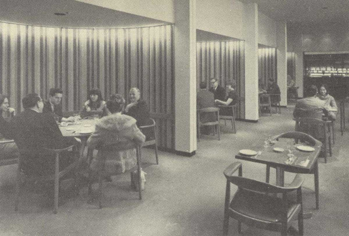 an old photo graph from 1968 of the interior dining room