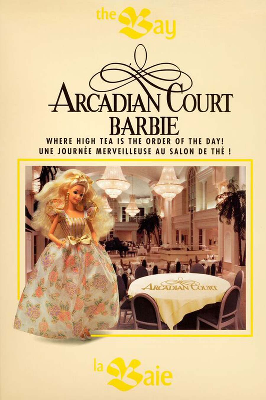 an old poster advertisement for the Arcadian Court Barbie with the real Barbie doll and a photo of the interior venue