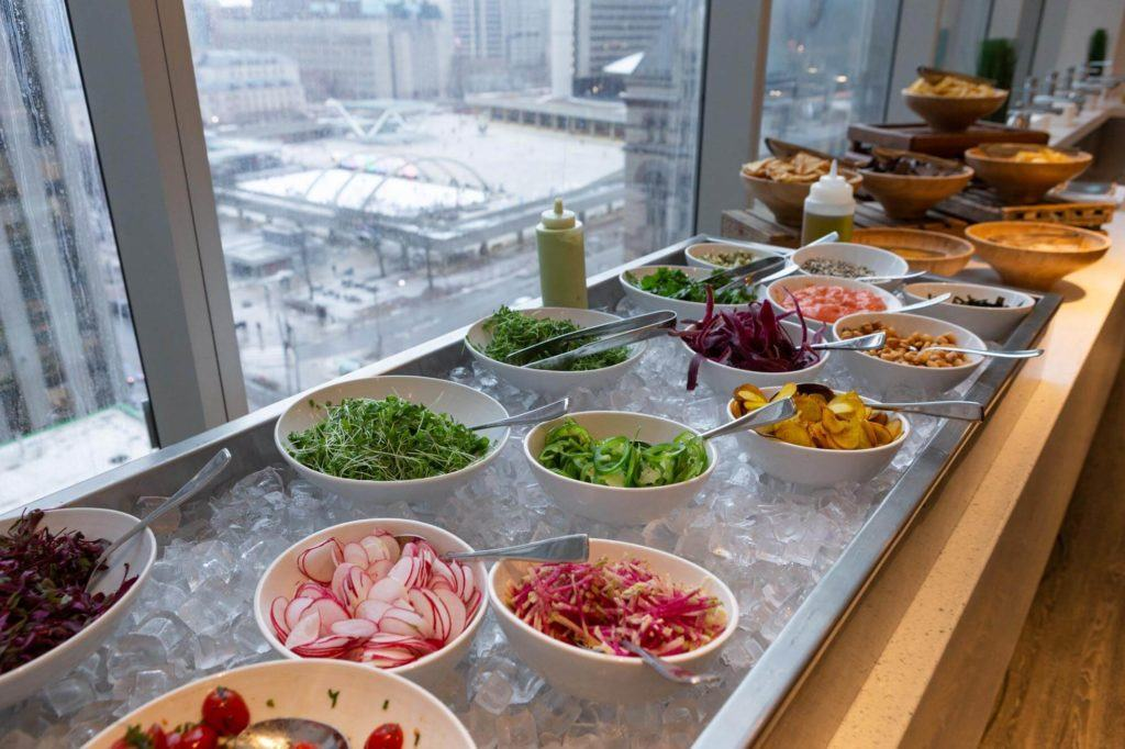 Toppings for ceviche on ice overlooking Nathan Phillip Square at Arcadian Studio