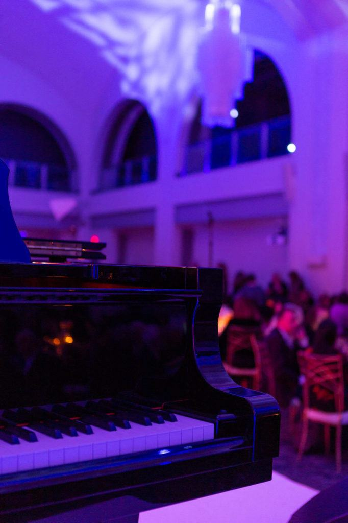 Grand piano on stage at Arcadian Court