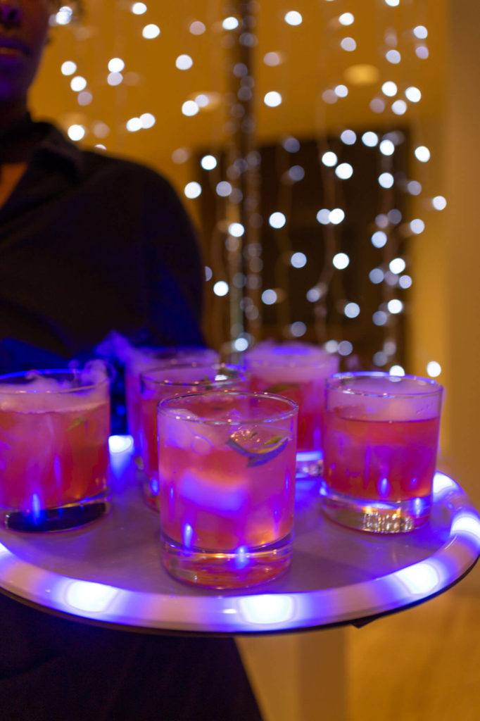 Cocktails made with dry ice served on glowing platter